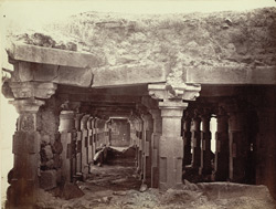 Interior colonnade of old math or monastery, Lonar, Buldana District, Berar